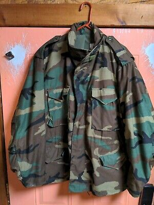 $79.99 • Buy ALPHA INDUSTRIES VINTAGE 80's M65 CAMO FIELD COLD WEATHER MILITARY JACKET XL EUC
