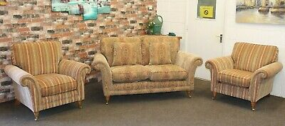 £1899 • Buy Parker Knoll Burghley 2 Seater Sofa & 2 Chairs In Baslow Gold Contrast Fabric