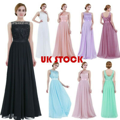 £38.69 • Buy UK Women Long Chiffon Gown Party Prom Cocktail Wedding Bridesmaid Evening Dress