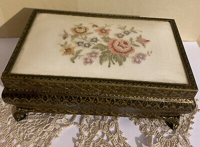 £21.50 • Buy Vintage French Petit Point Brass Filigree Embroidered Jewellery Box Boudoir
