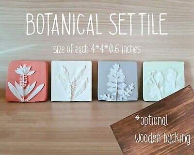 £87.26 • Buy 4 Colored Plant Plaster Fossil/plaster Wall Art/set Floral Tile/wall Sculpture