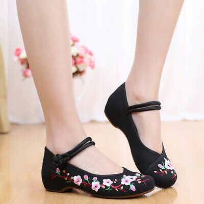 £11.33 • Buy Women Canvas Shoes Chinese Embroidered Flower Oxfords Mary Jane Sandal Shoes