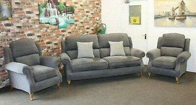 £1999 • Buy Parker Knoll Henley, Oakham L2 Seater Sofa & 2 Armchairs In Grey Fleck Fabric