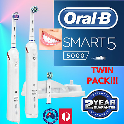 AU200.11 • Buy Oral B Smart 5000 Electric Toothbrush Twin Pack Rechargeable Oral White HOT! 1