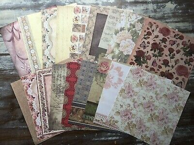£3.75 • Buy 18 Sheets Of 8  X 8  SCRAPBOOK PAPERS - Vintage Floral Designs *BEAUTIFUL*