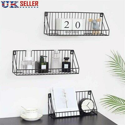 £9.19 • Buy Wall Mounted Shelf Unit Industrial Metal Wire Floating Shelves Home Storage Rack