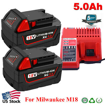 $21.68 • Buy For Milwaukee M18 XC 5.0AH Extended Lithium-ion Battery 48-11-1860 18V Charger
