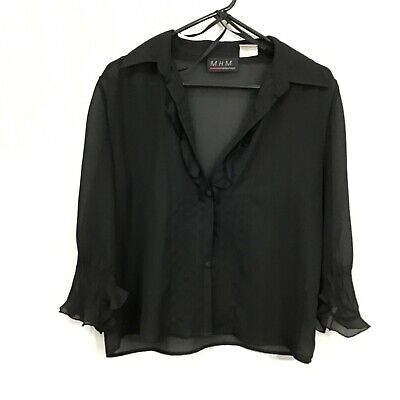$17.84 • Buy M.H.M. Melissa Harper Woman Black Button Front Casual Sheer Blouse Top Size 10