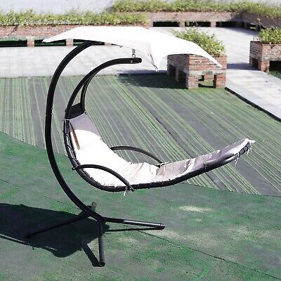 £219.99 • Buy Beige Garden Relaxing Hanging Swing Hammock Lounger Cushion Egg Chair With Stand