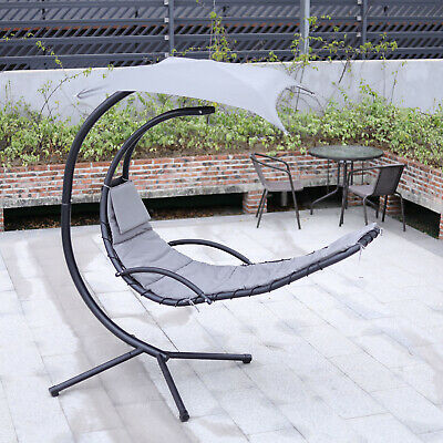 £219.99 • Buy Grey Outdoor Hanging Swing Hammock Lounger Garden Relax Cushion Egg Chair &Stand