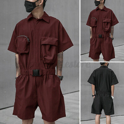 $33.10 • Buy Mens Hippie Fashion Cargo Jumpsuits Short Sleeve Pocket Overalls Dungarees Short