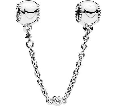 £13.49 • Buy Genuine PANDORA Embossed Hearts Safety Chain 796457CZ Sterling Silver S925 ALE