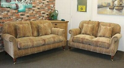 £1899 • Buy Parker Knoll Westbury 3 & 2 Seater Sofas In The Baslow Medalion Gold Fabric