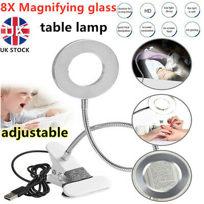 £9.59 • Buy 8X Magnifying Desk Lamp Table Top Glass Beauty Nail Salon Tattoo Magnifier Light