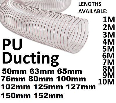 £10.90 • Buy PU Flexible Ducting Hose - Ventilation, Fume & Dust Extraction, Woodworking