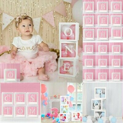 £12.99 • Buy A-Z Letter Cube Wedding Baby Shower Balloon Box Transparent Birthday Party Decor