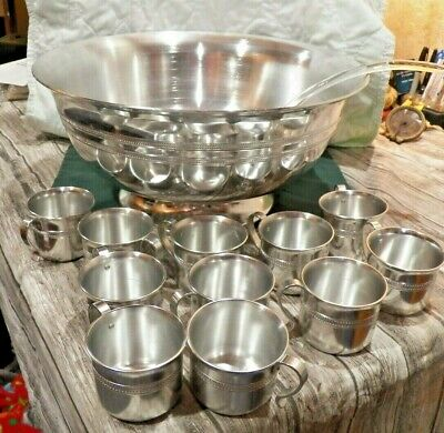 £53.18 • Buy Beautiful Wear-Ever Metal Large Punch Bowl W 11 Matching Cups & Glass Ladle