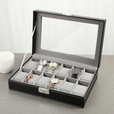 £12.72 • Buy 12 Grid Slots Watch Box Jewelry Display Holder Collect Storage Leather Case Uk
