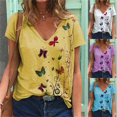 £6.59 • Buy Plus Size Women V-Neck Butterfly Tops T-Shirt Ladies Short Sleeve Casual Blouse
