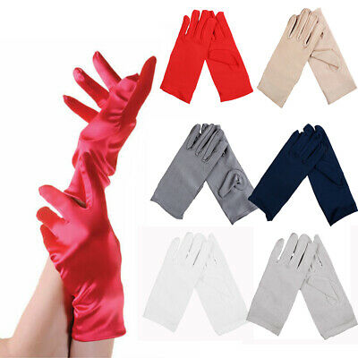£4.19 • Buy Ladies Short Wrist Smooth Satin Gloves For Party Dress Prom Evening Wedding