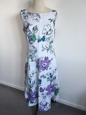 £19.99 • Buy Laura Ashley Midi Floral White Linen Dress Size 12 Lined VGC 💜