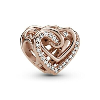 £14.44 • Buy Genuine PANDORA Rose Gold Sparkling Entwined Hearts 789270C01 Charm S925 ALE