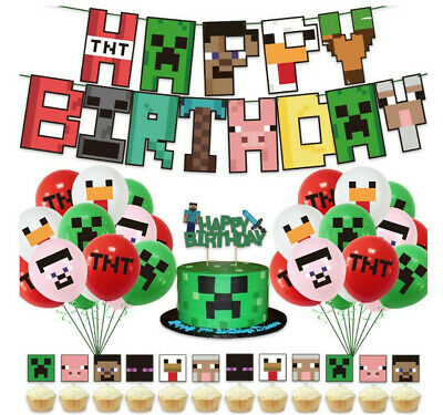 £8.99 • Buy Minecraft Gaming Party Supplies Latex Balloons Banner Birthday Decorations UK
