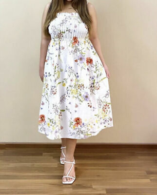 $41.70 • Buy Size M - H&M SOLD OUT SMOCKED BANDEAU MEADOW FLOWER FLORAL WHITE MIDI DRESS BNWT