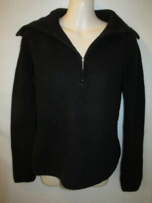 $22.95 • Buy Tahari 100% Cashmere Black Waffle Knit 1/4 Zip Sweater With Collar M May Fit S
