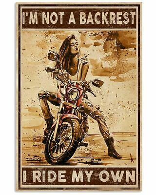 £16.17 • Buy Motorcycle Girl I'm Not A Backrest I Ride My Own Satin Portrait Poster