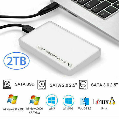 £4.98 • Buy USB 3.0 To SATA 2.5  Hard Drive SSD Enclosure External HDD Caddy White W/ Pouch