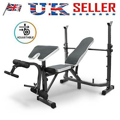 £98.99 • Buy Adjustable Workout Bench Olympic With Independent Squat Rack And Preacher Pad