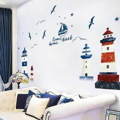£7.21 • Buy Nautical Boat Seagull Lighthouse Ocean Wall Sticker Mural For Home Decals Decor