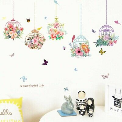 £6.90 • Buy DIY Flowers Birdcage Butterfly Wall Stickers Decal Pattern Mural HomeRoom Decor