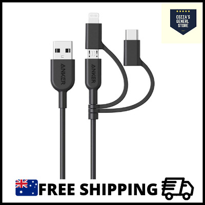 AU25.90 • Buy Anker Powerline II 3-in-1 Cable, Lightning/Type C/Micro USB Cable AU