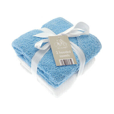 £11.45 • Buy Elli & Raff 2 Pack Hooded Baby Towels, Blue And White New Born Bath Gift Set