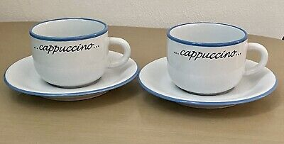 £7.49 • Buy 2 Cappuccino Cups And 2 Saucers, Pair Cappuccino Coffee Cups, White And Blue NEW