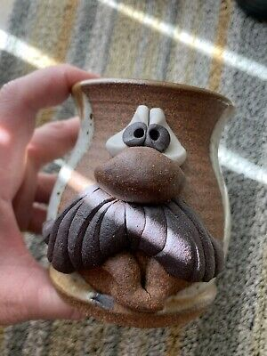 $40 • Buy 1980 Mahon Made Pottery Stoneware Mug Mustache Man Face Large Nose 3D BNWT Cup