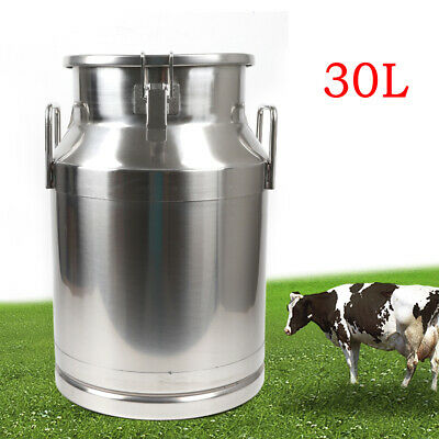 $102 • Buy Stainless Milk Can Bucket Pail Jug Tea Canister Farm Dairy Can Silicone Seal 30L