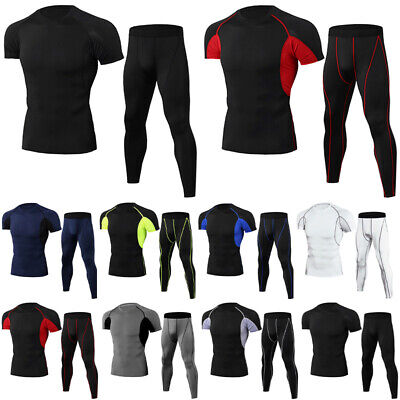 £15.99 • Buy Mens Compression Short Sleeve Tops+Leggings Base Layer Activewear Set Quick Dry