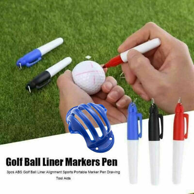 £4.84 • Buy Triple (3) Line Alignment Track Golf Ball Marker Stencil WITH/ 2 Pens Set UK