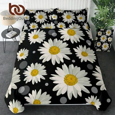 £53.56 • Buy Daisy Bedding Set Floral Duvet Cover King Size Yellow Black White Bedclothes