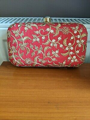 £13.99 • Buy Red Embroidered Indian Clutch Bag