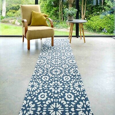 £9.95 • Buy Blue Floral Hallway Runner Rugs | Large Eco Modern Mat | Non Shed Cotton Rug