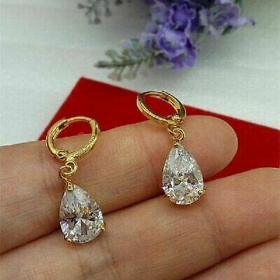 £7.49 • Buy ❤️Earrings 9ct Gold Finish Pear Diamond❤️ Water Drop 27 Mm Mother Gift Silver ❤️