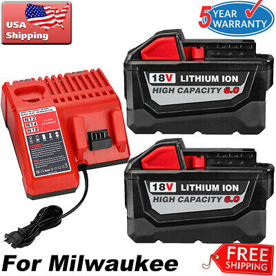$66.35 • Buy For Milwaukee M18 18V XC 6.0 AH Extended Lithium Battery 48-11-1860/Fast Charger
