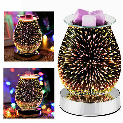 £11.88 • Buy 3D Glass Electric Firework Oil Wax Melt Burner Home Fragrance Aroma Touch Lamp