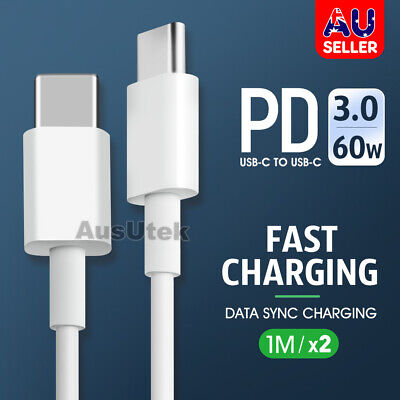 AU7.99 • Buy 2x USB Type C To USB-C Cable Charge PD Quick Charging Data Fast Charger Samsung