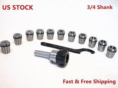 $49.99 • Buy 3/4 Straight Shank ER32 Chuck With 11 PC Collets Set CNC Milling Lath