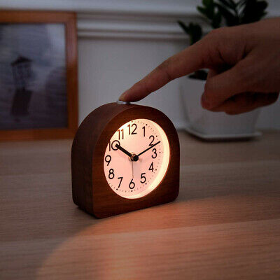AU48 • Buy Wood Analog Alarm Clock Battery Operated Non-Ticking Clock With Snooze And Light